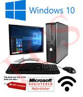 """DELL DESKTOP TOWER PC INTEL QUAD CORE CPU 1TB HD 8GB RAM WI-FI WINDOWS 10 17""""TFT"""