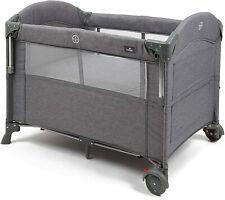 Babylo Deluxe Drop Side Bedside Sleeping Travel Cot - Grey Mélange