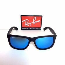 Ray Ban Sunglasses RB4165 622/55 - 55 Justin Black Frame and Blue Mirror Lenses