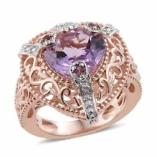 Rose De France Amethyst, Signity Pink Topaz, Natural Cambodian Zircon ring sze N