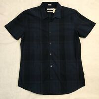 Calvin Klein Men's Blue Plaid Button Down Men's Medium Slim Fit