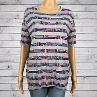 LuLaRoe Irma Stars & Stripes Tunic T-shirt 2XS XXS Gray Red White Blue Patriotic