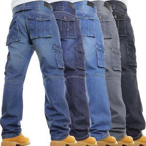 Mens Cargo Combat Jeans Casual Work Heavy Denim Pants Trousers GRAB A BARGAIN!!