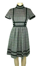 Vintage 1950s Dress Houndstooth Button Pockets Black White A Line Suzy Perette