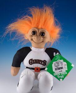 "Russ Troll Doll Giants Soft Body Plush 9"" Orange Hair Brown Eyes With Tag 1991"