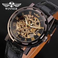 Winner Luxus Edelstahl Leder Skelettuhr Mechanisch Herrenuhr Armbanduhr
