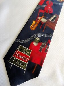 Coke Coca Cola Jazz Club Saxophone Piano Music Colorful Silk Necktie