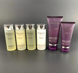 Asprey London Purple Water Travel Lot 6 Pcs Shampoo Conditioner Gel Lotion 1.7oz