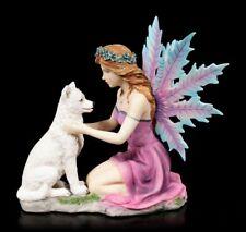 Elfen Figur - Gweana mit Wolf - Fantasy Fee Statue Deko Skulptur