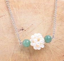 Halskette Perlenball Beads Süsswasserzuchtperlen Achat Grün Edelstahl 50cm Neu