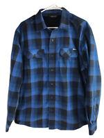 Eddie Bauer Cotton Flannel Shirt Mens Large Blue Plaid Long Sleeve Button Up