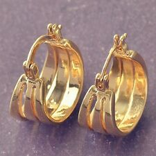 Earrings Solid 9ct Shiny Gold GF Vintage Style Gypsy Hoops Great Gift 20 mm