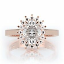 1.5 Ct Oval Natural Diamond Halo Engagement Ring 18K Rose Gold