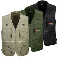 Mens Multi Pocket Solid Vest Coat Fishing Camping Photography Waistcoat Jacket
