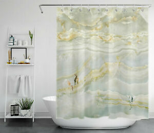 Abstract Marble Texture Wild Animals Deer Shower Curtain Set for Bathroom Decor