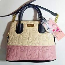 BETSEY JOHNSON Unicorn Satchel Pink & Cream Ivory Quilted Crossbody Purse Bag
