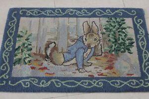 VINTAGE HOOKED RUG Peter Rabbit Frederick Warne 2 x 3