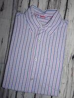 BODEN LONDON Mens Shirt Lilac Stripe Long Sleeve Button Cuff SIZE MEDIUM