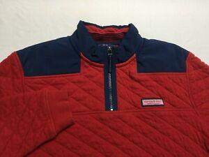 Vineyard Vines Men's Fleece Shep Shirt Jacket 1/4 Zip Red Pullover Size Medium