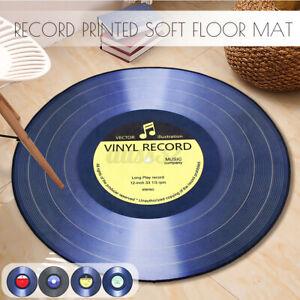 3D Vinyl Record Printed Soft Fabric Round Floor Mat Carpet Room Area Bedroom