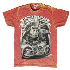 American Legend T-Shirt Indian,Motorcycle,Eagle HUGH PRINT ACID WASH TOP QUALITY
