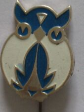 Russian CARTOON HERO pin Buttons badge Owl Kid Child Old Bird Metal Soviet vtg N