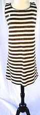 Deadstock New 1960 Designer Geistex Copper Striped Wool Knit Sweater Dress Large