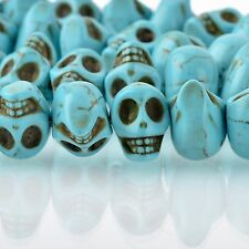 12mm TURQUOISE BLUE Howlite Skull Beads, Drilled Sideways, 40 beads, how0673
