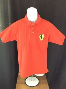 Ferrari motor racing POLO red tee shirt button Racer Men's Sz Med Classic