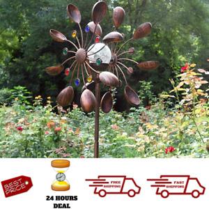 Large Metal Windmill Wind Kinetic Spinner Solar Garden Yard Art Decor Sculpture