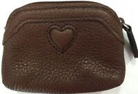 "Adorable Brighton Brown Leather Zip Coin Case Excellent Condition 4"" X 3"""