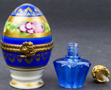 Limoges Hand Painted Porcelain Blue Egg W/ Jewel Top Perfume Bottle Trinket Box