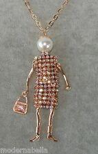Bambola Collana lunga vestito,perle Strass,Donna,bambolina oro