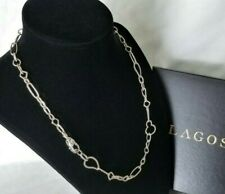 """Lagos - Multi Shape Sterling Silver Chain Link Necklace - 18"""" length - Stunning!"""
