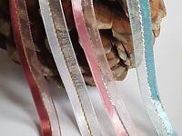 1m/3m SATIN RIBBON TRIMMING with Sheer & Central Lurex Strip-Wedding-craft-10mm