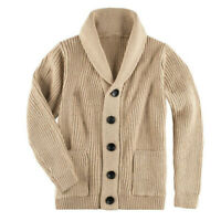 Mens Shawl Collar Cardigan Sweater Cable Knit Button Cotton Sweater with Pockets