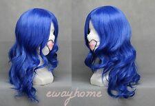 NEW FAIRY TAIL Juvia Loxar Long curly Dark Blue Anime Cosplay Hair Wig + wig cap