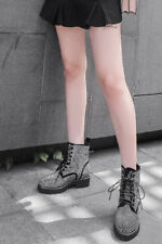 Womens Rhinestone Decor Leather Lace Up Cuban Heel Combat Casual Ankle Boots NEW