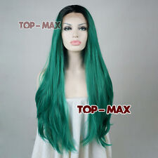 Women Girls Lace Front Green Full Hair Wavy Long 24 Inches Heat Resistant Wigs