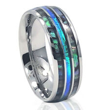 🔥NEW! Silver Tungsten Abalone Blue Inlay Engagement Wedding Band Mens Ring 8mm