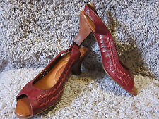 NAYA FANDANGA Red Leather Pumps Peep Toe Bamboo Heels  Womens 7.5M 1094