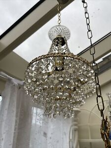 Antique Vintage French Chandelier Waterfall Chandelier Glass Drops
