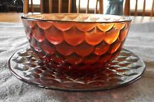 RARE WESTMORELAND AMETHYST CARNIVAL GLASS SCALEs  SMALL BOWL WITH UNDERPLATE