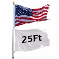 25 ft Flag Pole Kit Telescopic Aluminum Flagpole 3'x5' US Flag Ball Fly 2 Flags