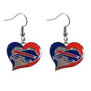 Buffalo Bills Football Team NFL Heart Swirl Charm Silver Dangle Earrings Set