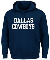 Dallas Cowboys NFL Mens Wordmark Hoodie Navy Blue Adult Sizes