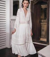 designer ladies long sleeve white cotton dress lace v neck boho long dress