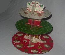 3 Tier CHRISTMAS CUP CAKE STAND - NEW - Cardboard mini xmas pudding holder rack