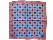 NEW E. MARINELLA NAPOLI Lt.Blue/Red Medallion Pattern Silk Pochette Pocket Sq.