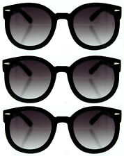 3 Pairs/Lot BLACK THICK HORN VINTAGE INSPIRED SUNGLASSES Wholesale Men & Women